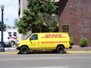 A Yellow DHL Van